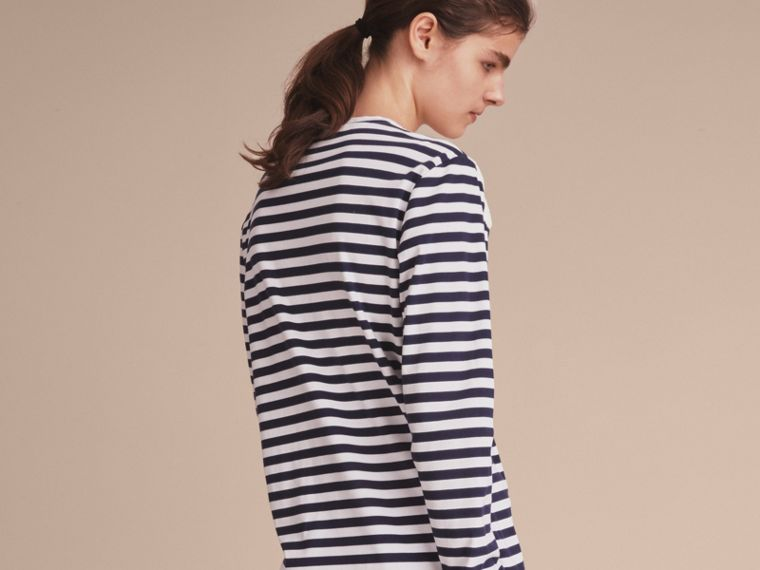 Unisex Lace Appliqué Breton Stripe Cotton Top in Indigo - Women | Burberry - cell image 4