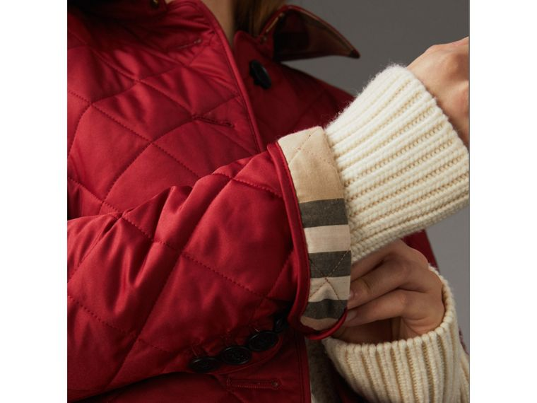 Diamond Quilted Jacket in Parade Red - Women | Burberry - cell image 1