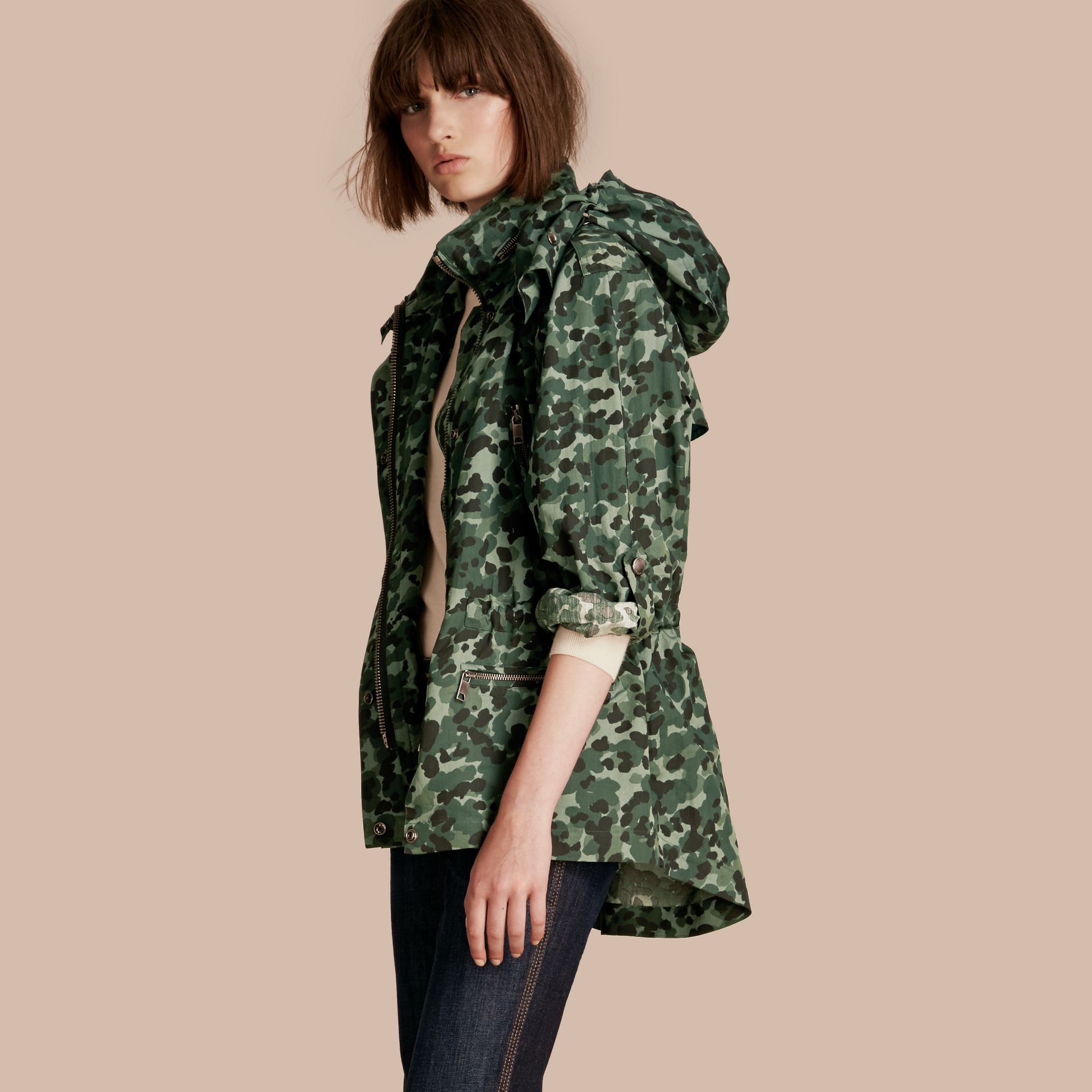 Deep bottle green Showerproof Cotton Parka Jacket with Packaway Hood - gallery image 1