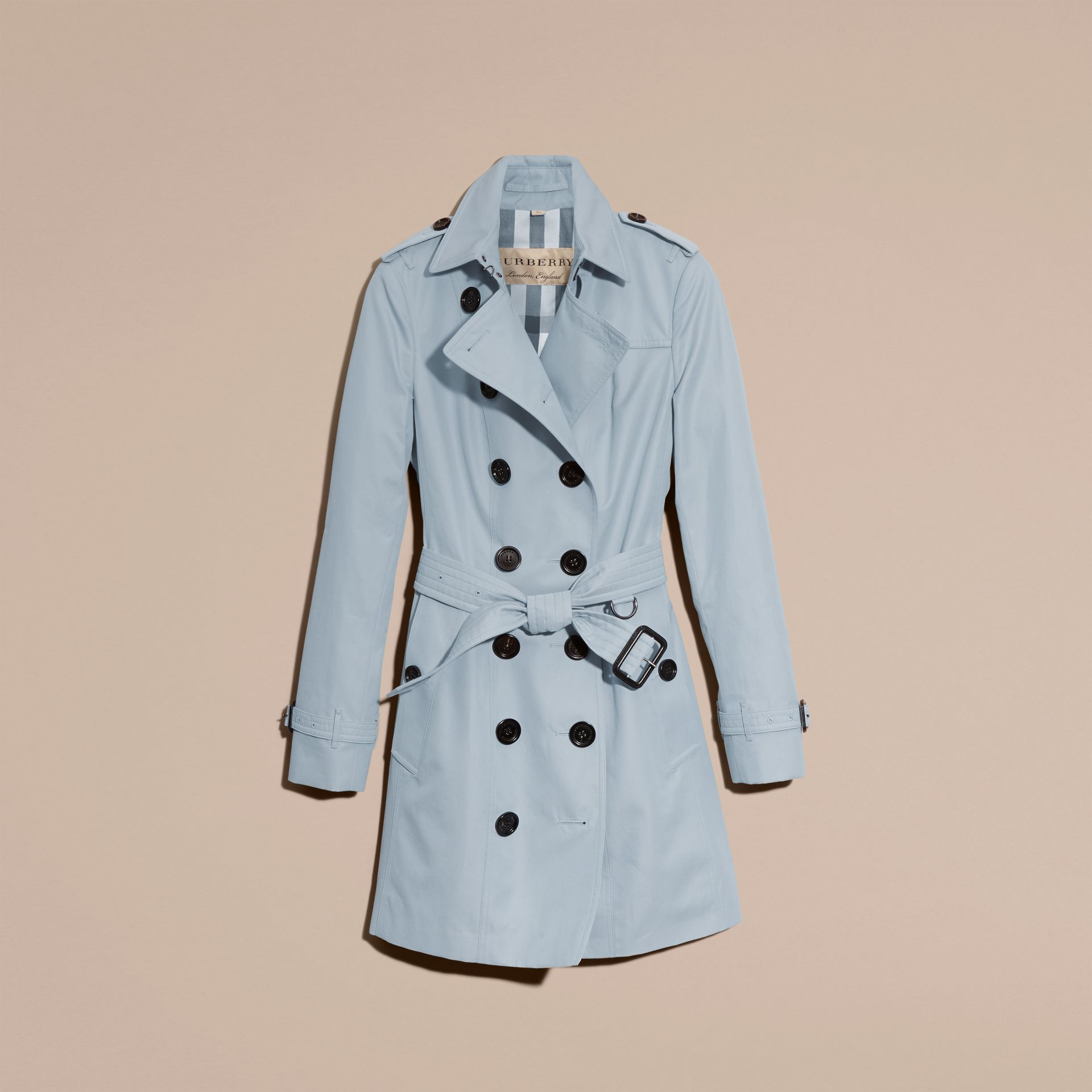 Pale sky blue Cotton Gabardine Trench Coat Pale Sky Blue - gallery image 4