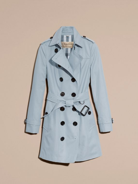 Pale sky blue Cotton Gabardine Trench Coat Pale Sky Blue - cell image 3