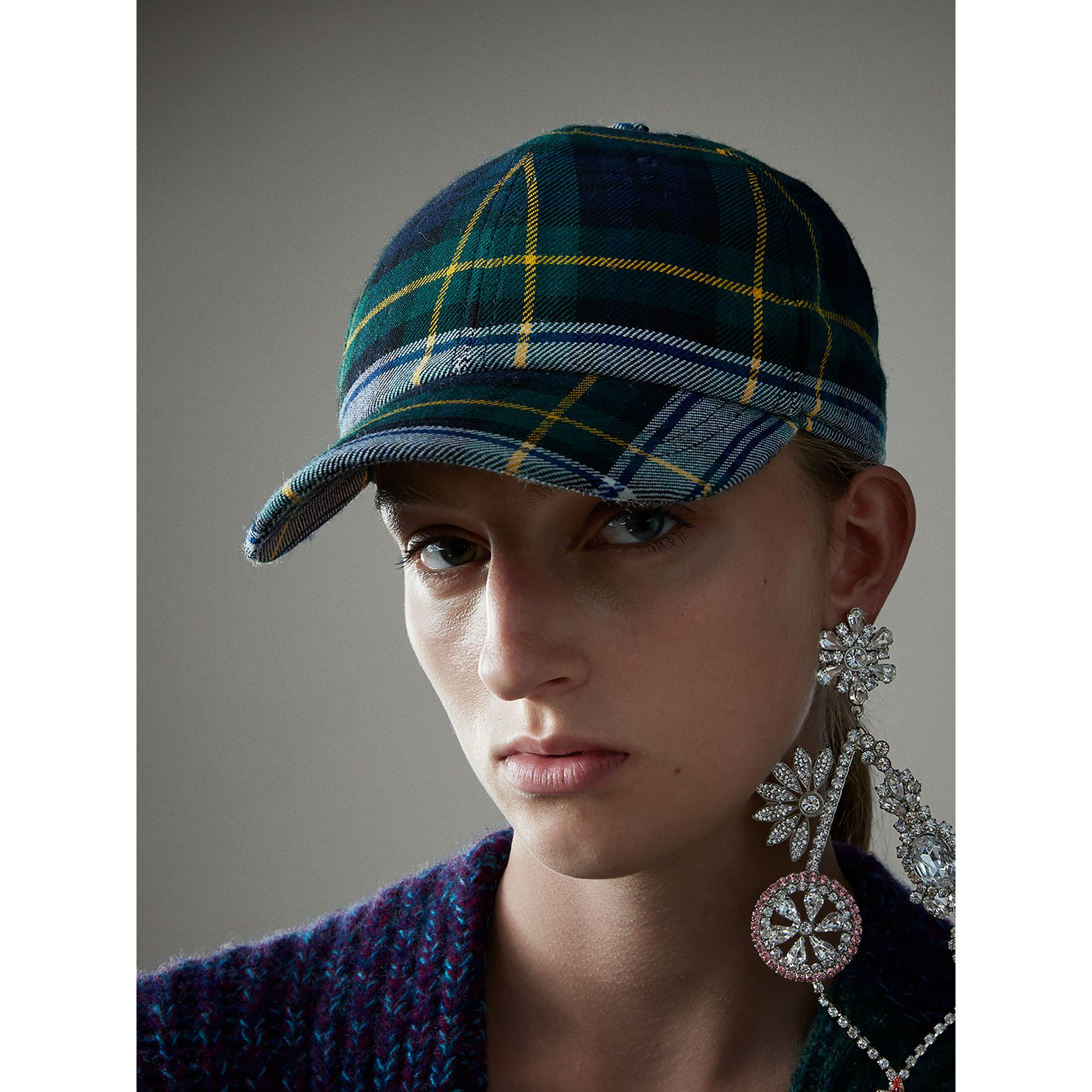 Tartan Baseball Cap in Ink Blue | Burberry - gallery image 2