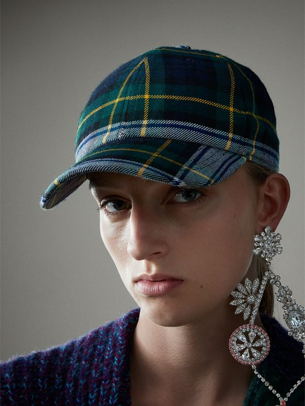 Tartan Baseball Cap in Ink Blue | Burberry United Kingdom - cell image 2