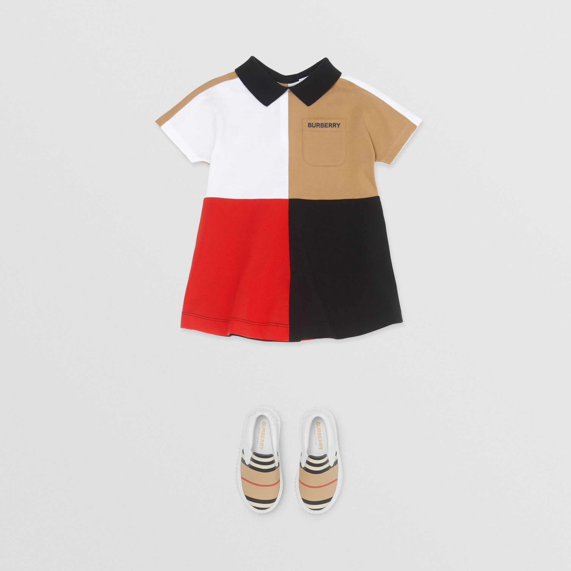 Colour Block Knit Cotton Polo Shirt Dress in Multicolour - Children | Burberry - gallery image 2