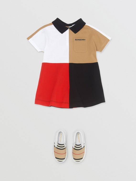 Colour Block Knit Cotton Polo Shirt Dress in Multicolour
