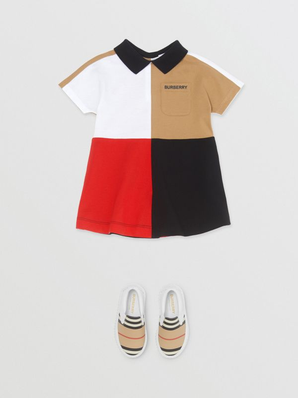 Colour Block Knit Cotton Polo Shirt Dress in Multicolour - Children | Burberry - cell image 2