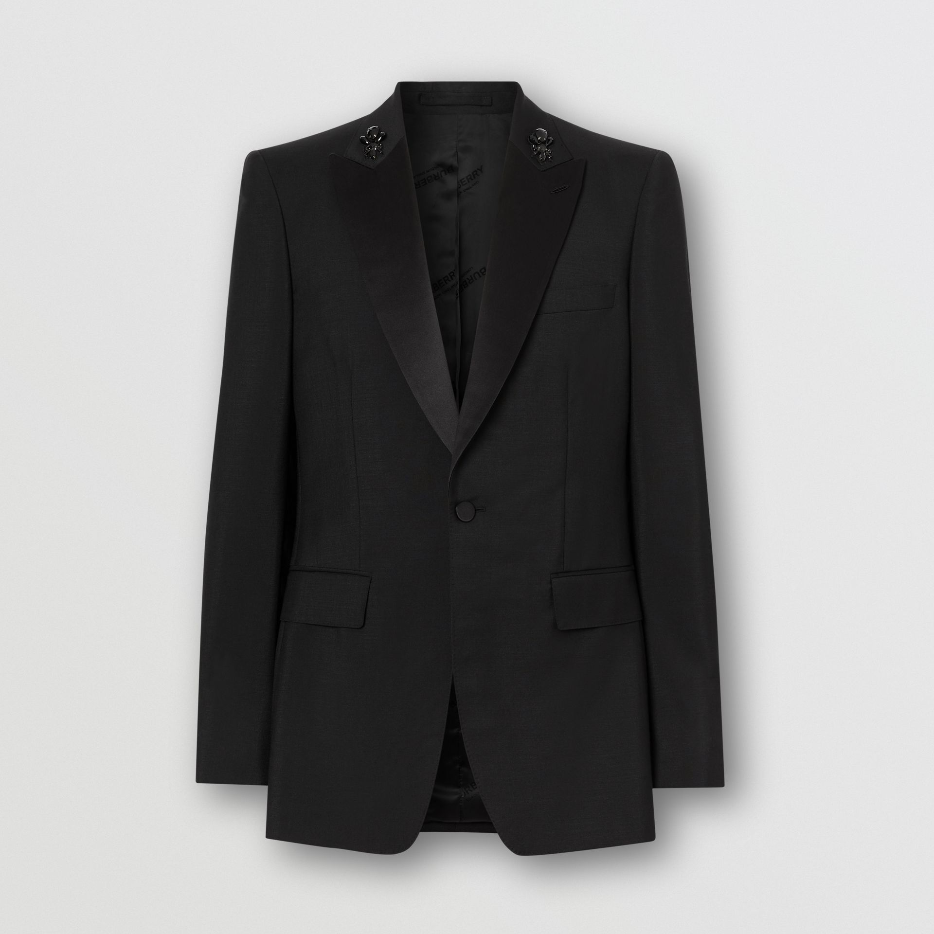 English Fit Embellished Mohair Wool Tuxedo Jacket in Black - Men | Burberry - gallery image 3