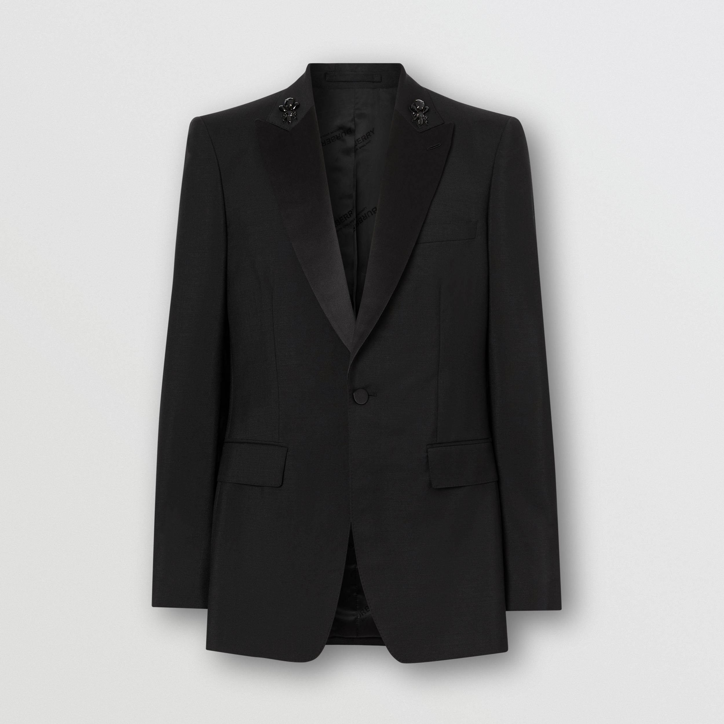 English Fit Embellished Mohair Wool Tuxedo Jacket in Black - Men | Burberry - 4