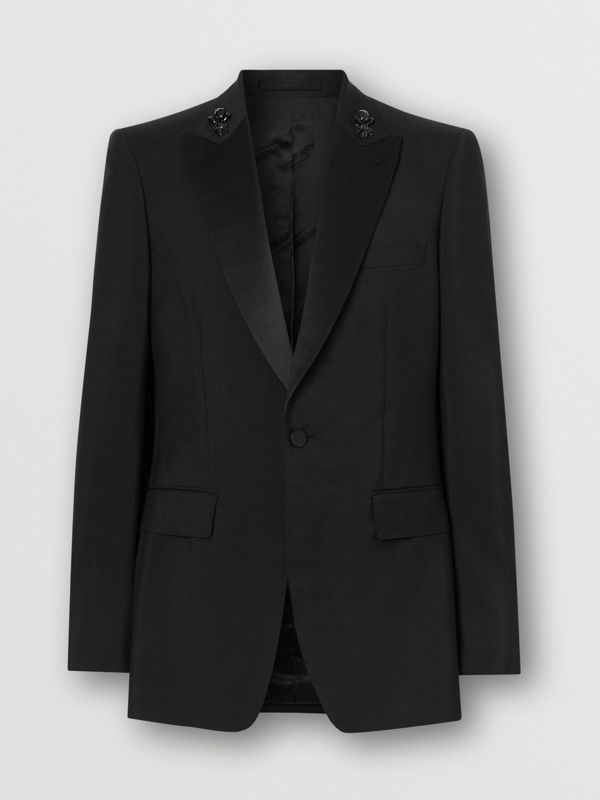 English Fit Embellished Mohair Wool Tuxedo Jacket in Black - Men | Burberry - cell image 3