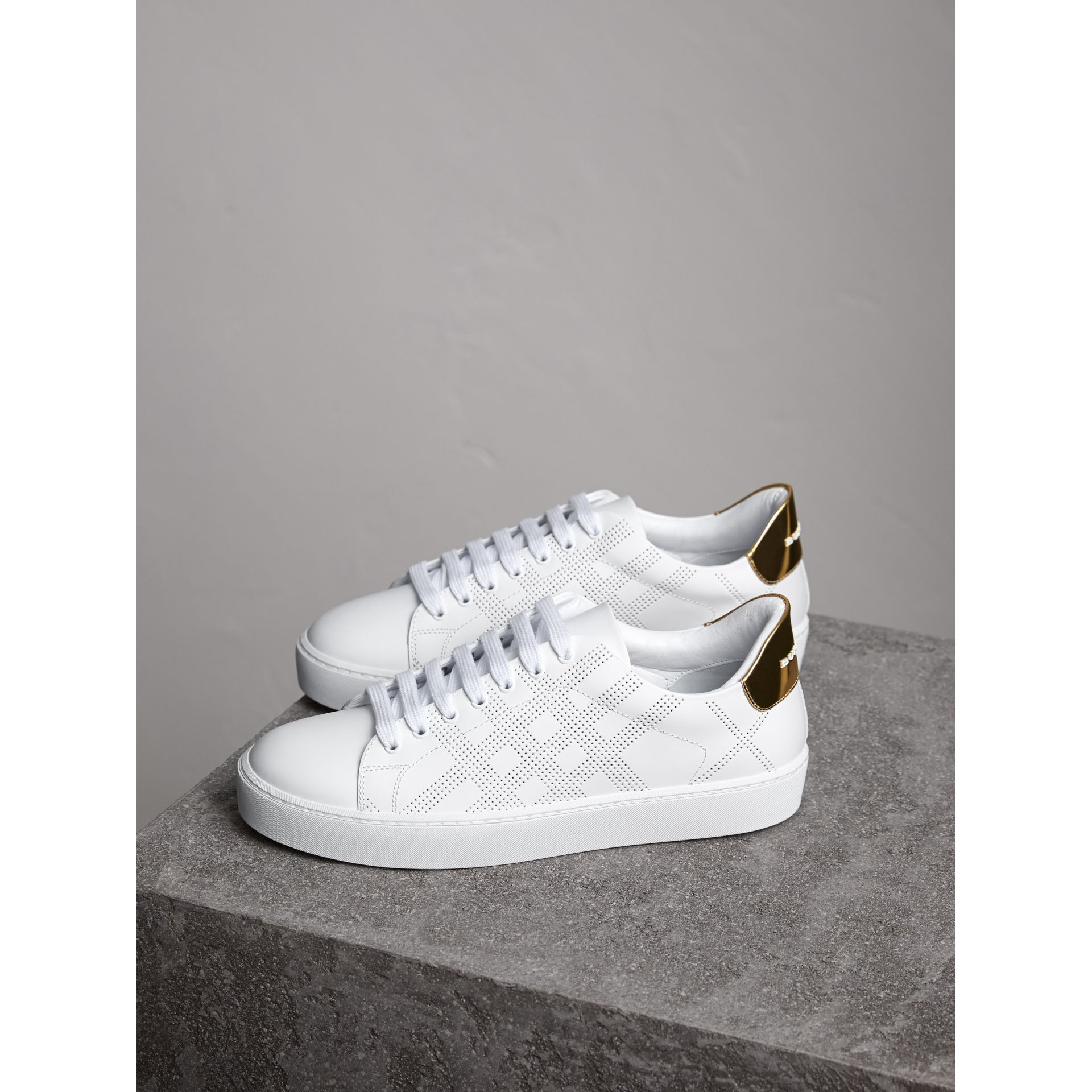 Perforated Check Leather Trainers in Optic White - Women | Burberry - gallery image 5