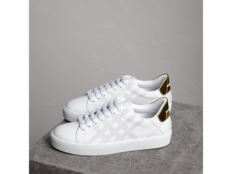 Perforated Check Leather Trainers in Optic White - Women | Burberry - cell image 4