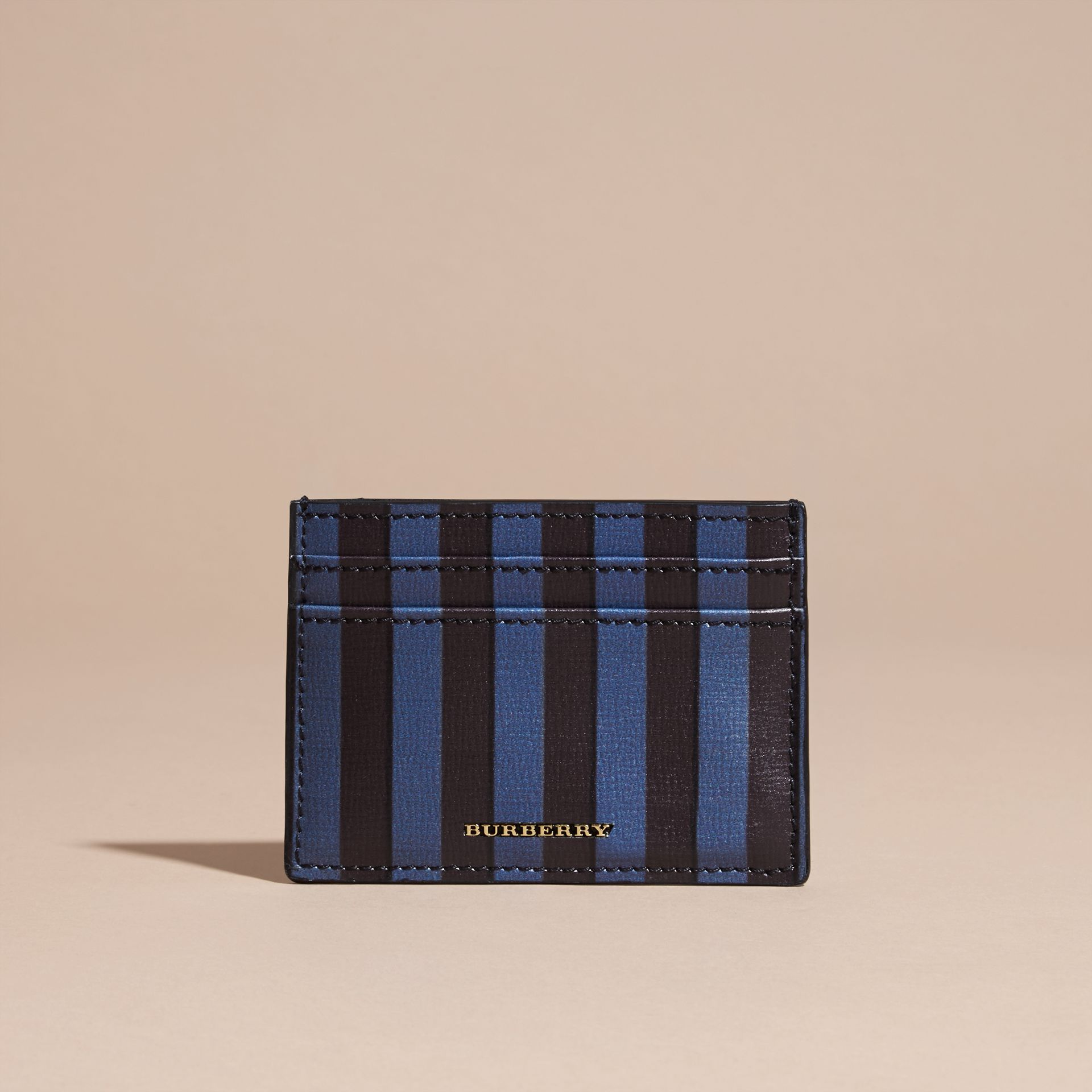 Navy Pyjama Stripe London Leather Card Case Navy - gallery image 6