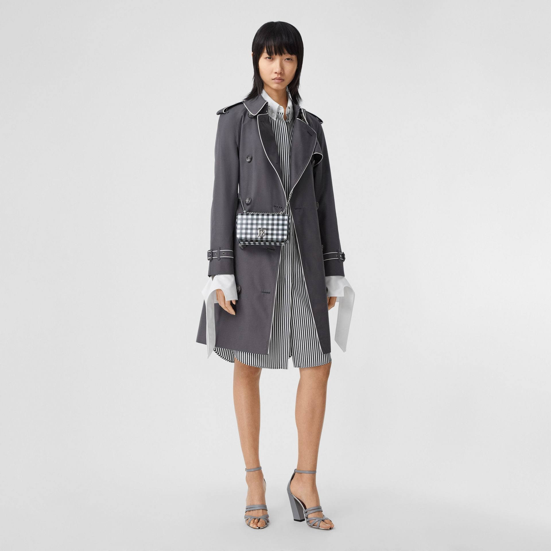 Piped Cotton Gabardine Trench Coat in Mid Grey - Women | Burberry - gallery image 0