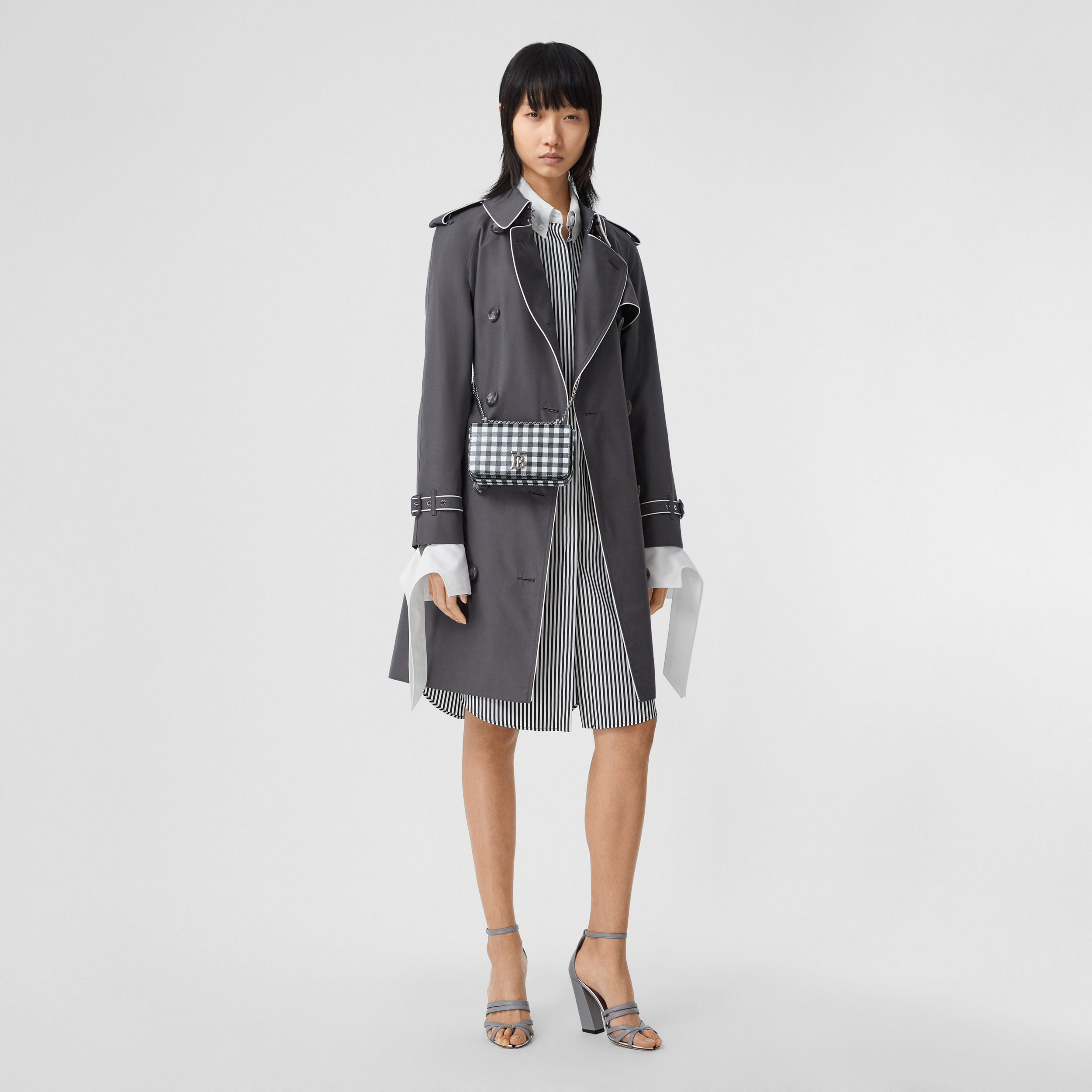 Piped Cotton Gabardine Trench Coat in Mid Grey - Women | Burberry - 1