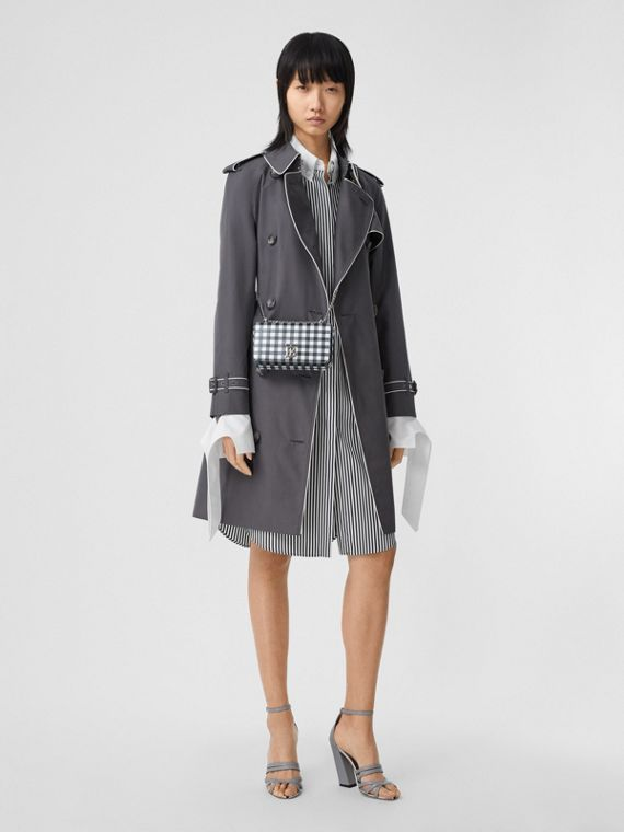 Piped Cotton Gabardine Trench Coat in Mid Grey