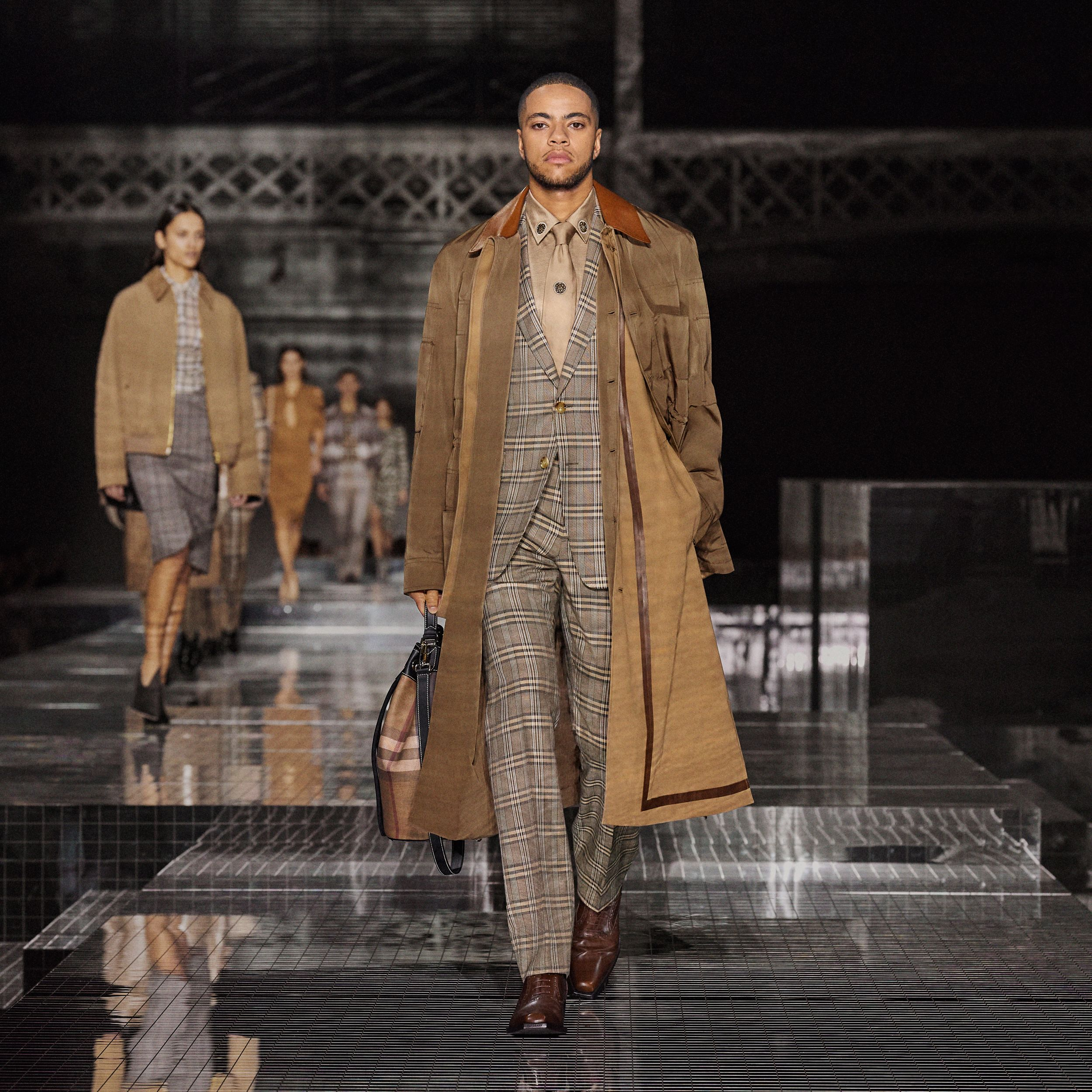 Prince of Wales Check Wool Silk Tailored Trousers in Dusty Caramel - Men | Burberry - 3