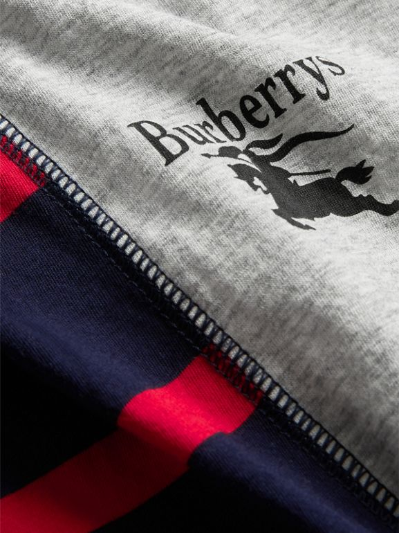 Archive Logo Print Striped Cotton T-shirt in Parade Red | Burberry - cell image 1