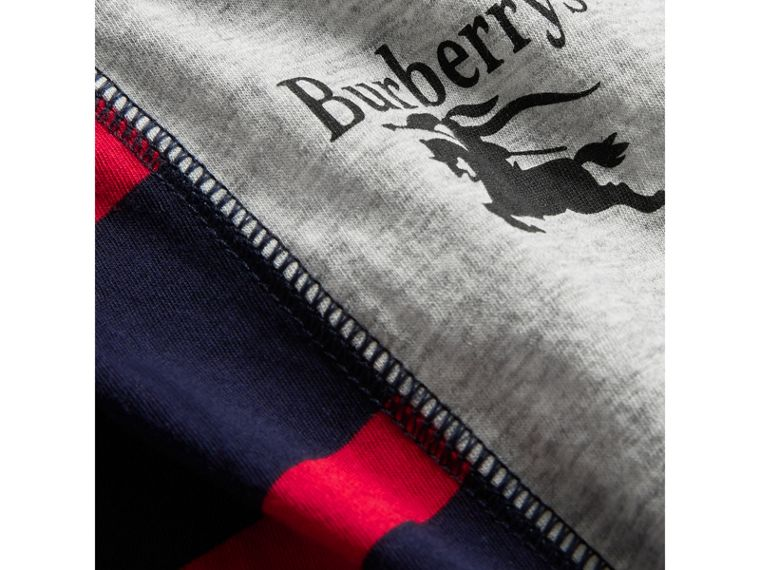 Archive Logo Print Striped Cotton T-shirt in Parade Red - Boy | Burberry - cell image 1