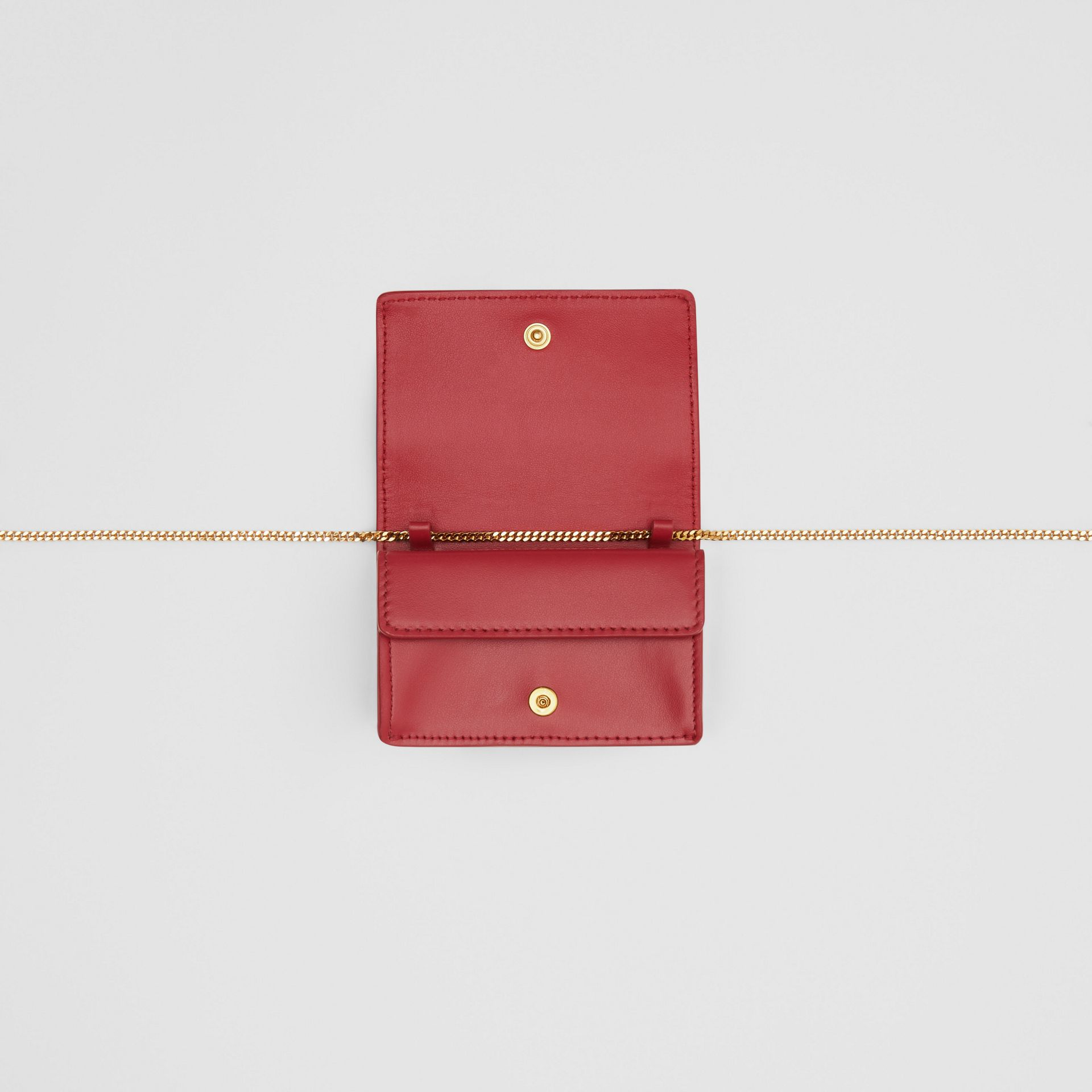 Leather Card Case with Detachable Strap in Crimson - Women | Burberry - gallery image 3