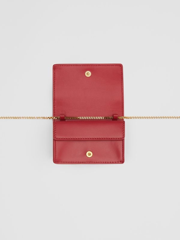 Leather Card Case with Detachable Strap in Crimson - Women | Burberry - cell image 3