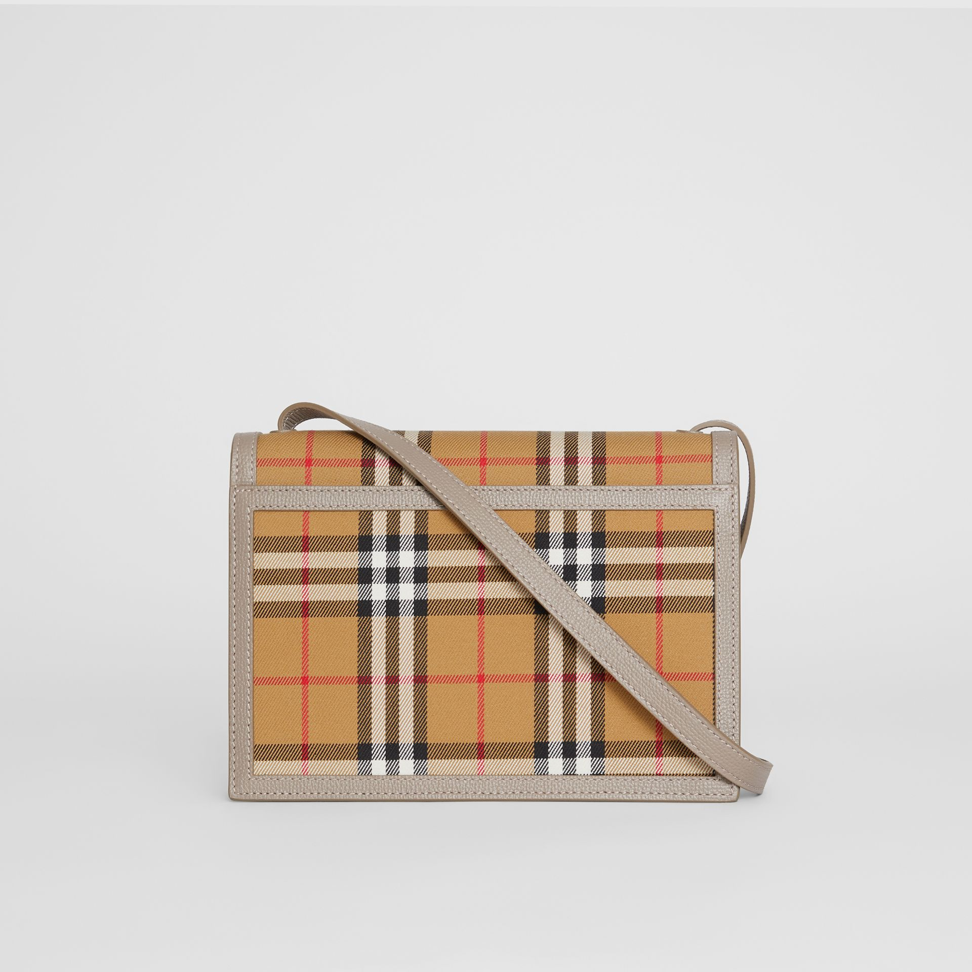 Small Vintage Check and Leather Crossbody Bag in Taupe Brown - Women | Burberry Canada - gallery image 7