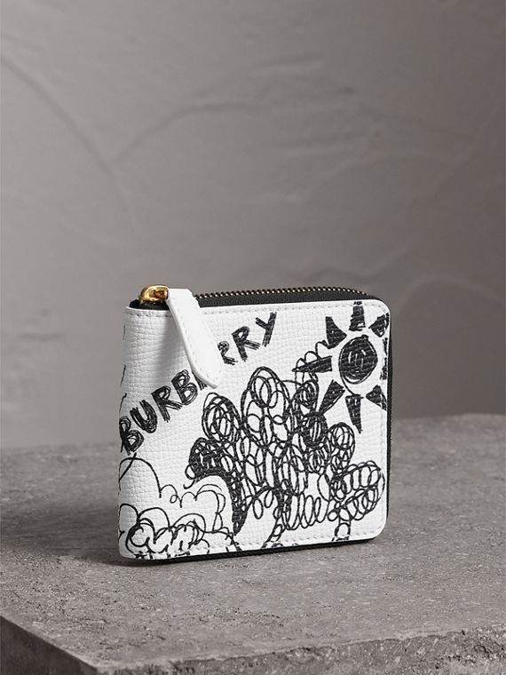 Doodle Print Leather Ziparound Wallet in White