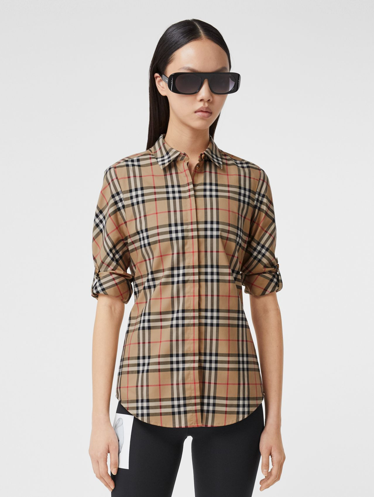 Vintage Check Stretch Cotton Twill Shirt in Archive Beige