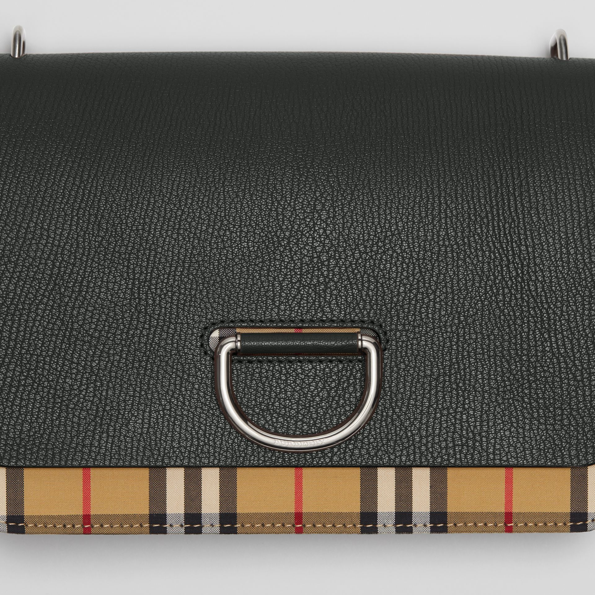 The Medium Vintage Check and Leather D-ring Bag in Black - Women | Burberry Singapore - gallery image 1