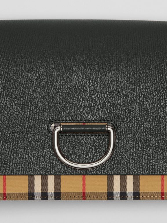 The Medium Vintage Check and Leather D-ring Bag in Black - Women | Burberry - cell image 1