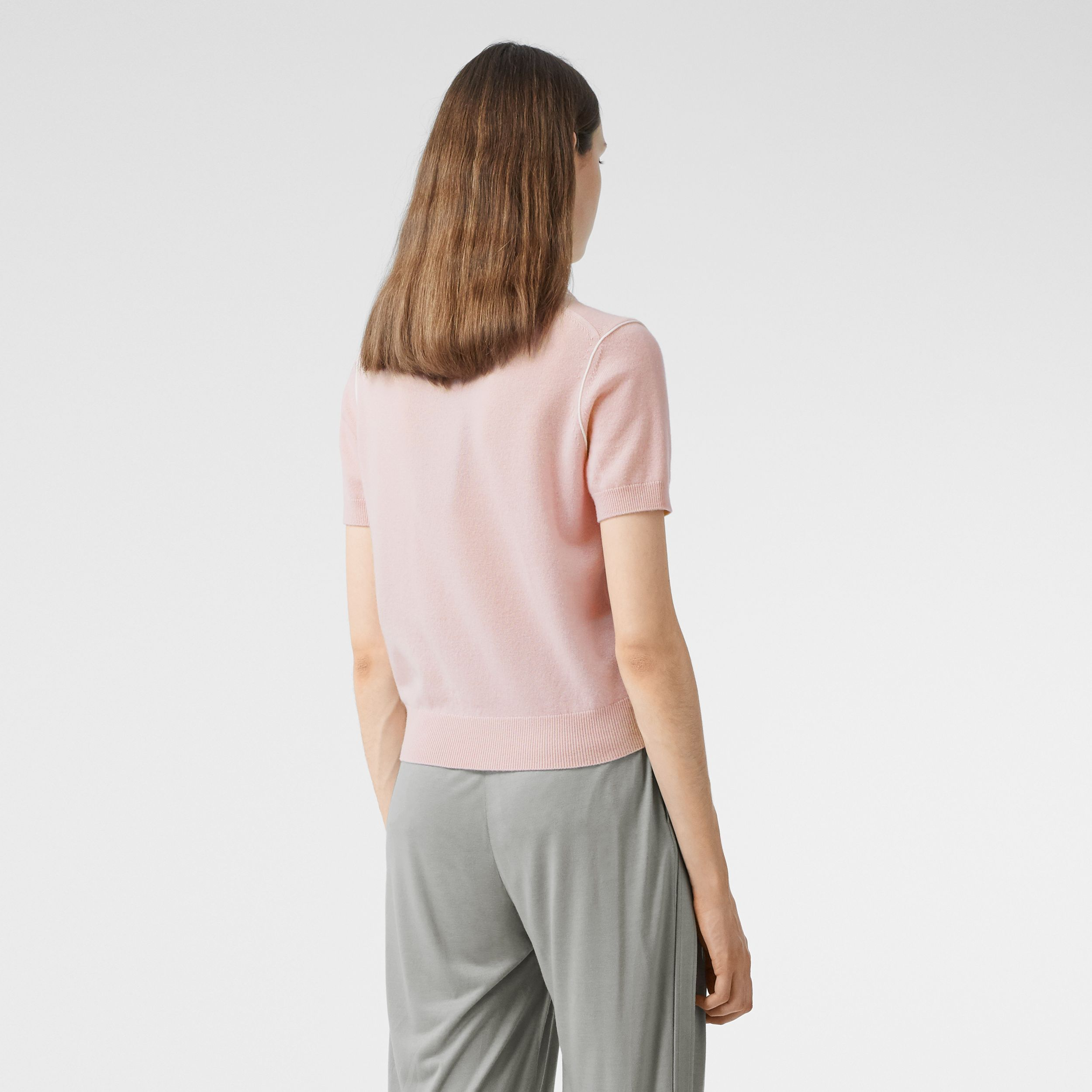 Short-sleeve Monogram Motif Cashmere Top in Copper Pink - Women | Burberry - 3