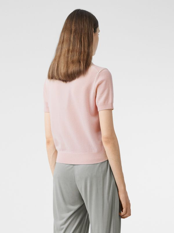 Short-sleeve Monogram Motif Cashmere Top in Copper Pink - Women | Burberry United Kingdom - cell image 2
