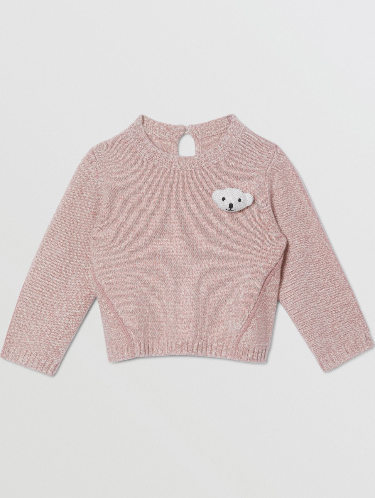 Thomas Bear Detail Wool Cashmere Sweater (Light Pink)