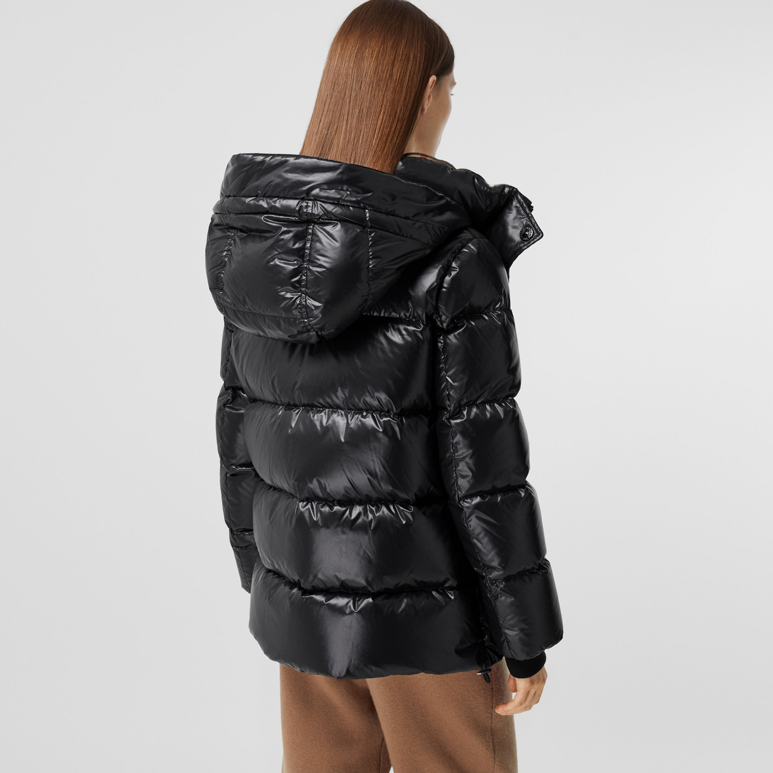 Detachable Hood Logo Appliqué Puffer Jacket in Black - Women | Burberry - 3