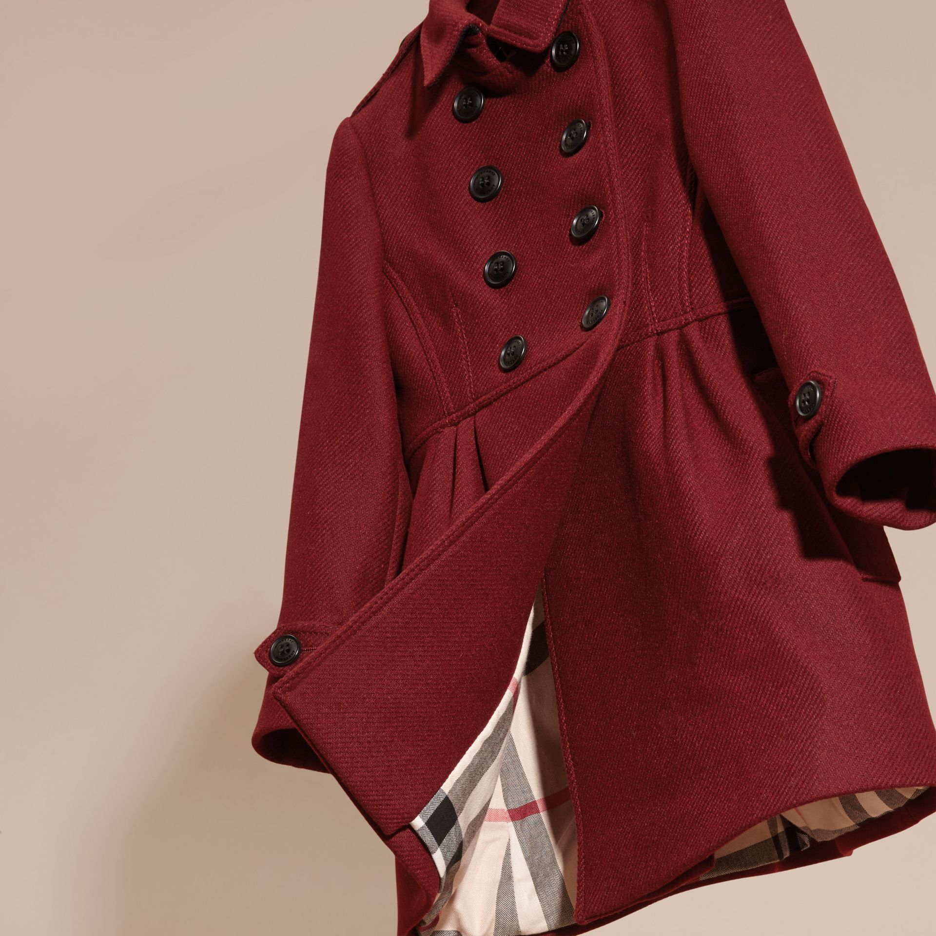 Deep claret Tailored Wool Cashmere Blend Coat Deep Claret - gallery image 3