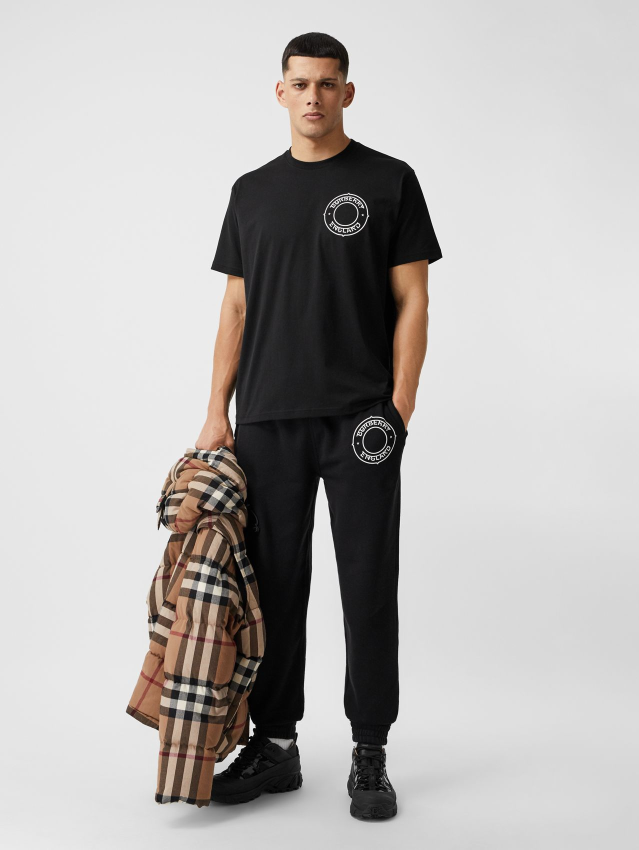 Logo Graphic Cotton Jogging Pants in Black