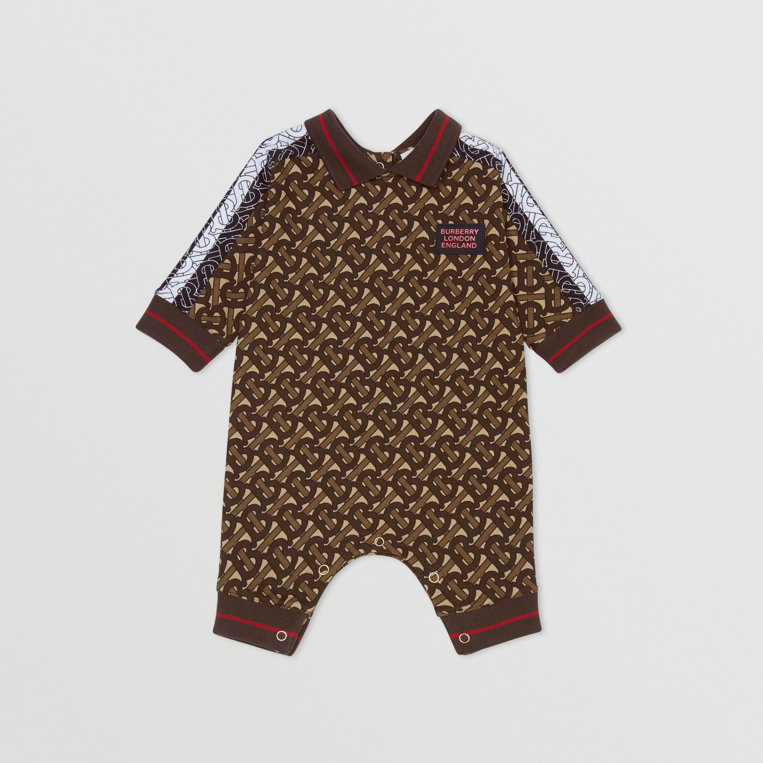 Monogram Stripe Print Cotton Piqué Jumpsuit in Bridle Brown - Children | Burberry Hong Kong S.A.R. - 1