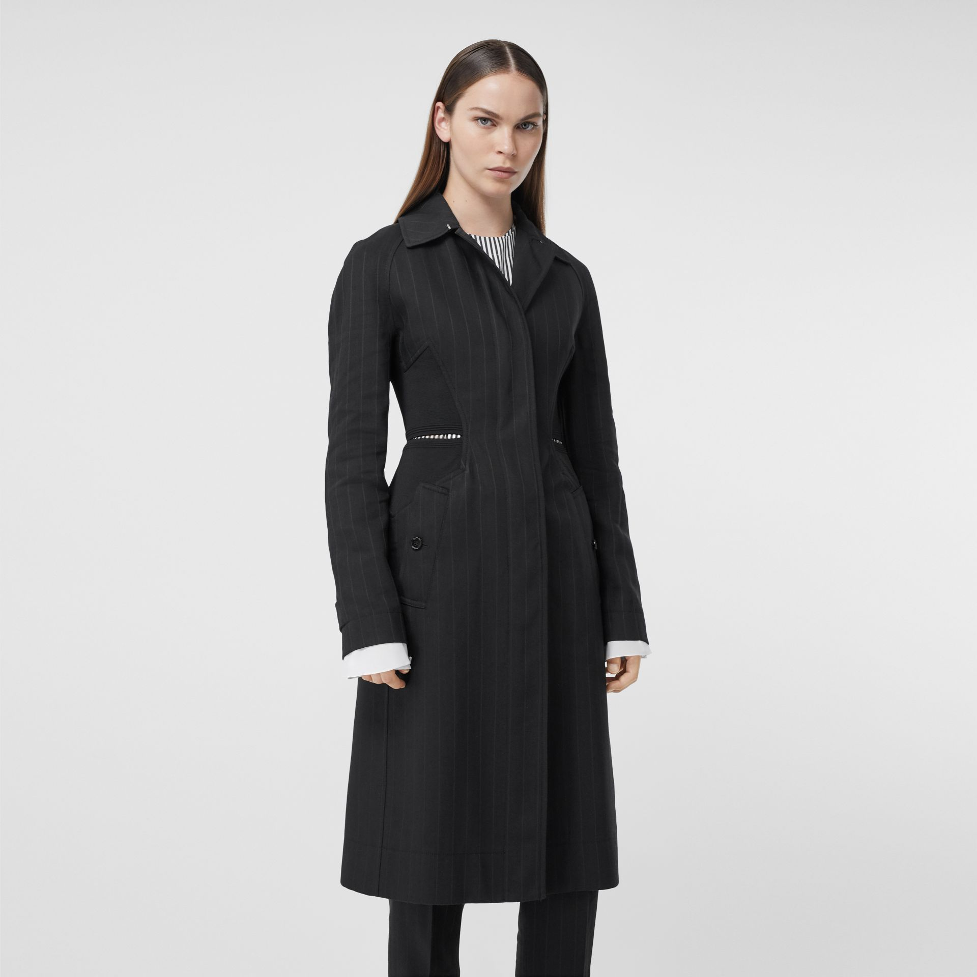 Pinstriped Technical Twill Reconstructed Car Coat in Black - Women | Burberry Australia - gallery image 0