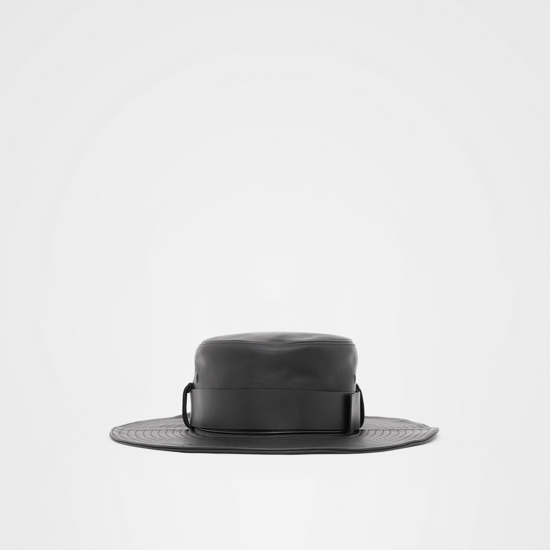 Monogram Motif Belt Detail Lambskin Desert Hat in Black | Burberry - gallery image 5