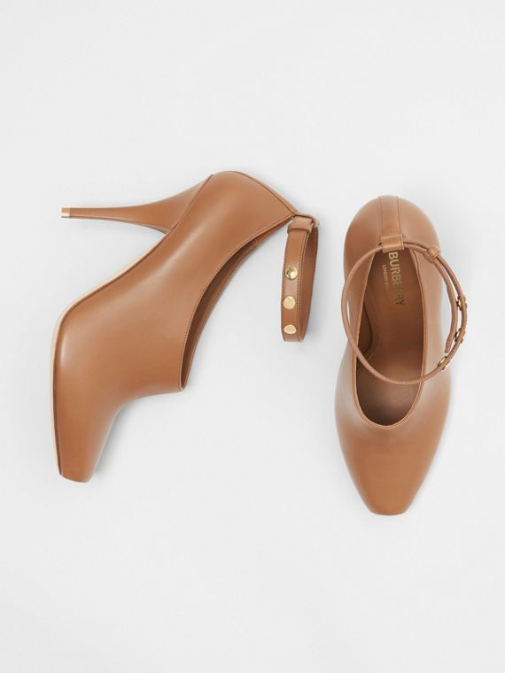 Leather Peep-toe Pumps in Amber Brown