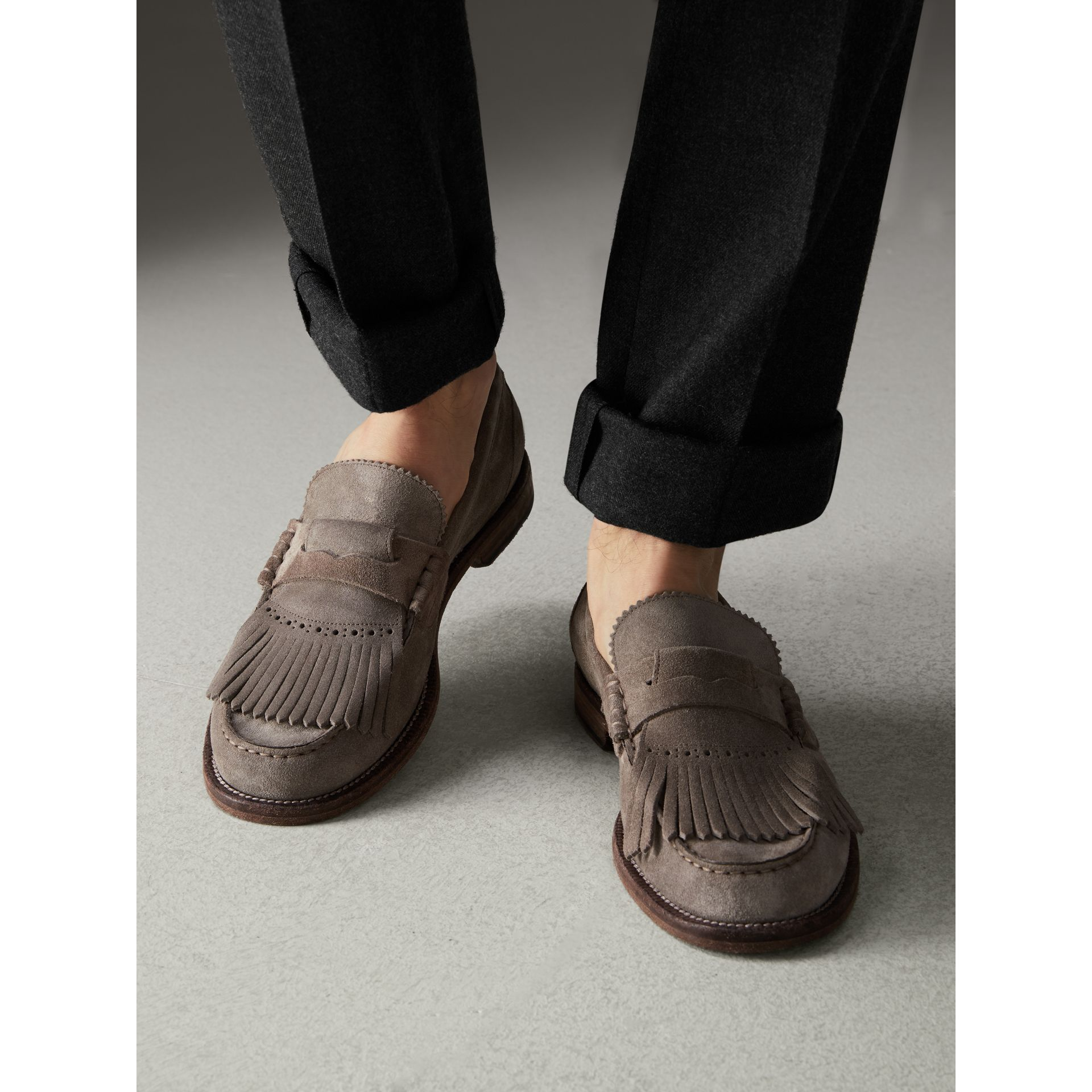 Kiltie Fringe Suede Loafers in Steel Grey - Men | Burberry Singapore - gallery image 2