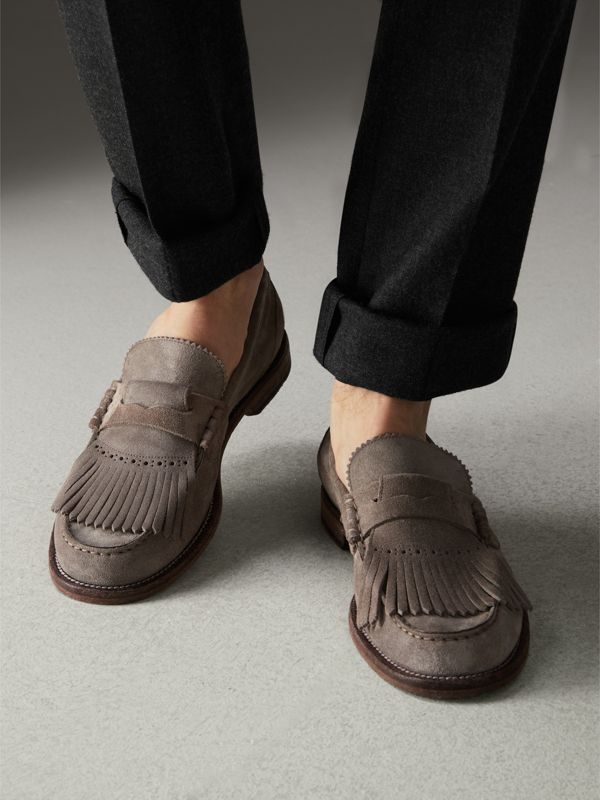Kiltie Fringe Suede Loafers in Steel Grey - Men | Burberry - cell image 2