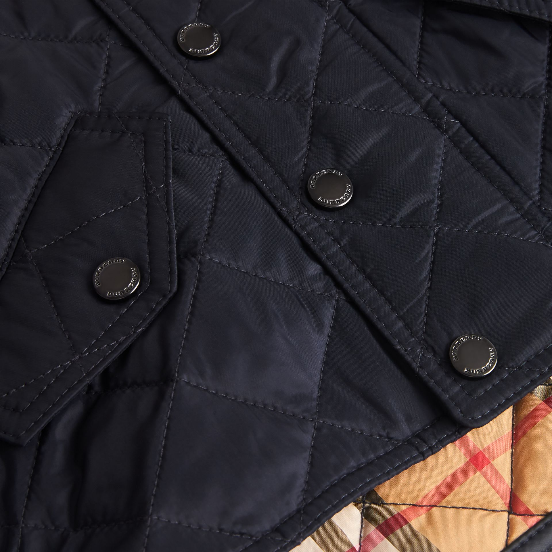 Diamond Quilted Hooded Jacket in Navy - Children | Burberry United Kingdom - gallery image 1