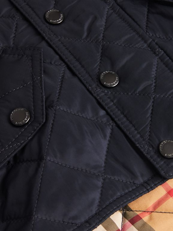 Diamond Quilted Hooded Jacket in Navy - Children | Burberry - cell image 1