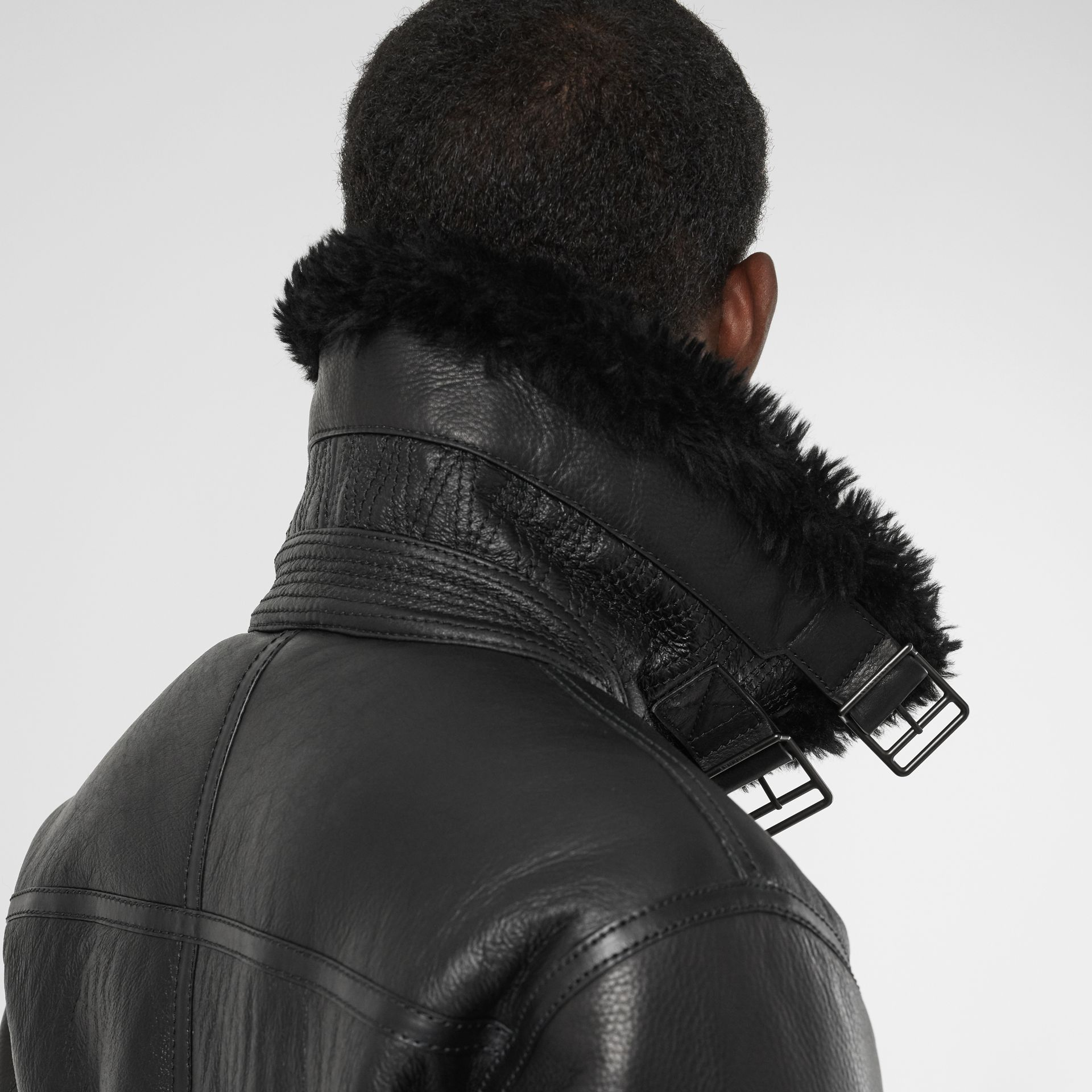 Shearling Aviator Jacket in Black - Men | Burberry United Kingdom - gallery image 1