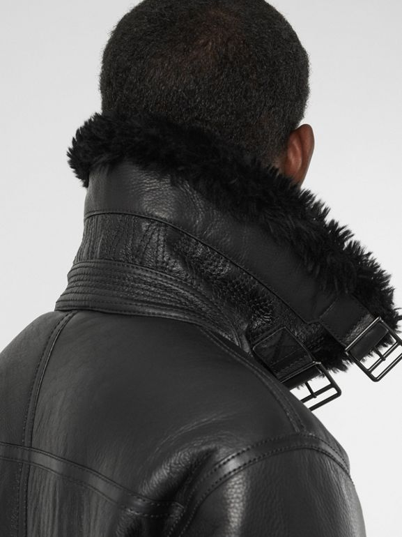 Shearling Aviator Jacket in Black - Men | Burberry United Kingdom - cell image 1