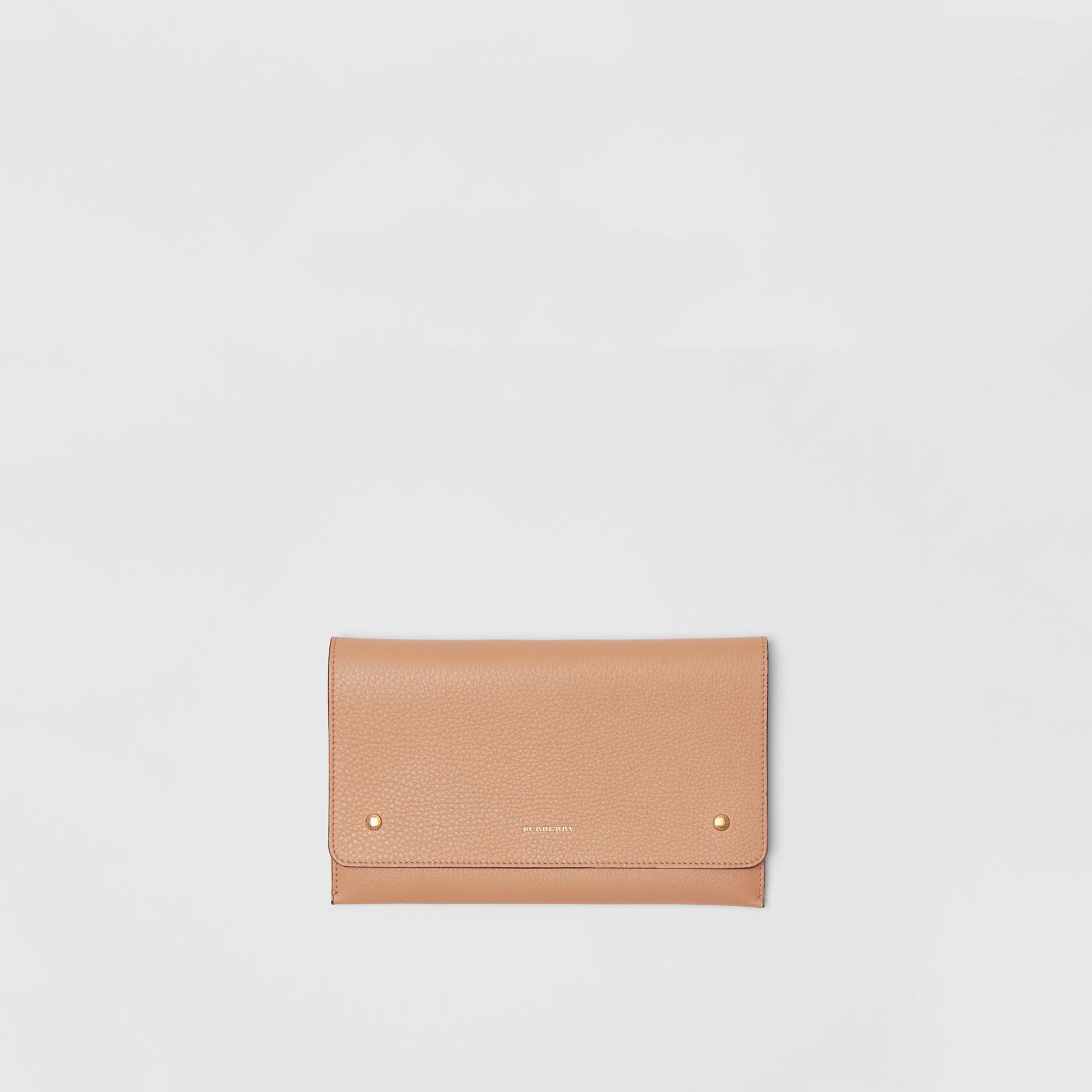 Two-tone Leather Wristlet Clutch in Light Camel - Women | Burberry United Kingdom - gallery image 0