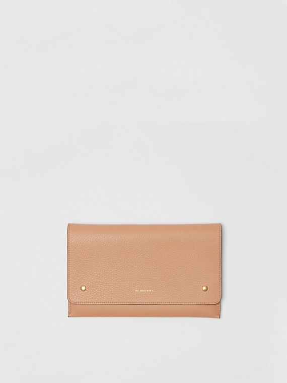 Two-tone Leather Wristlet Clutch in Light Camel