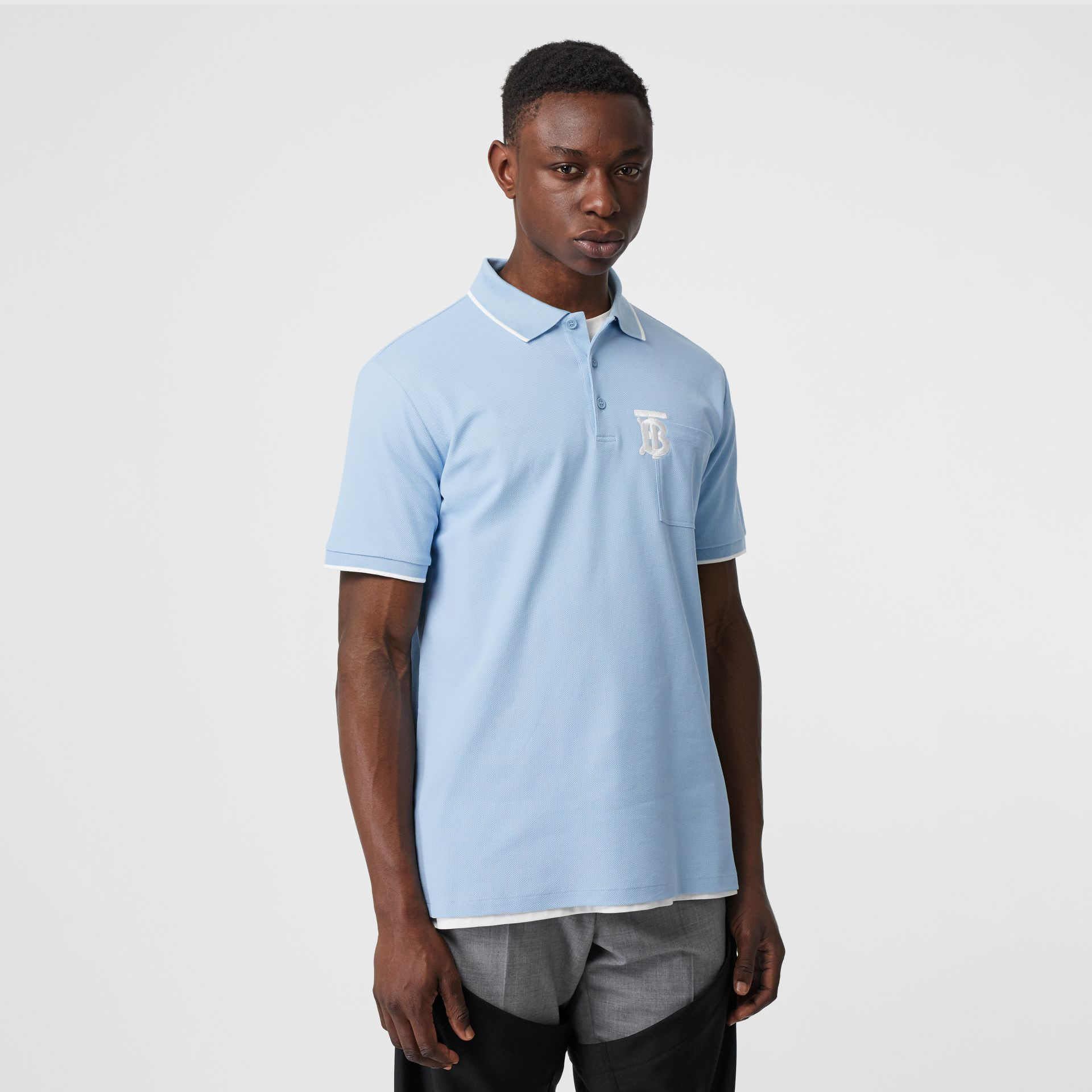 Monogram Motif Tipped Cotton Piqué Polo Shirt in Pale Blue - Men | Burberry - gallery image 4