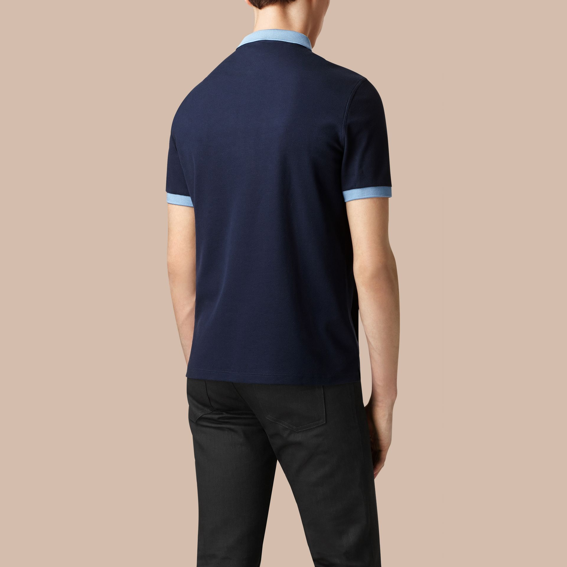 Navy/pale blue Mercerised Cotton Polo Shirt - gallery image 4