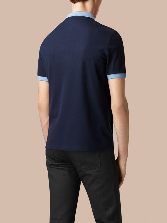 Navy/pale blue Mercerised Cotton Polo Shirt - cell image 3